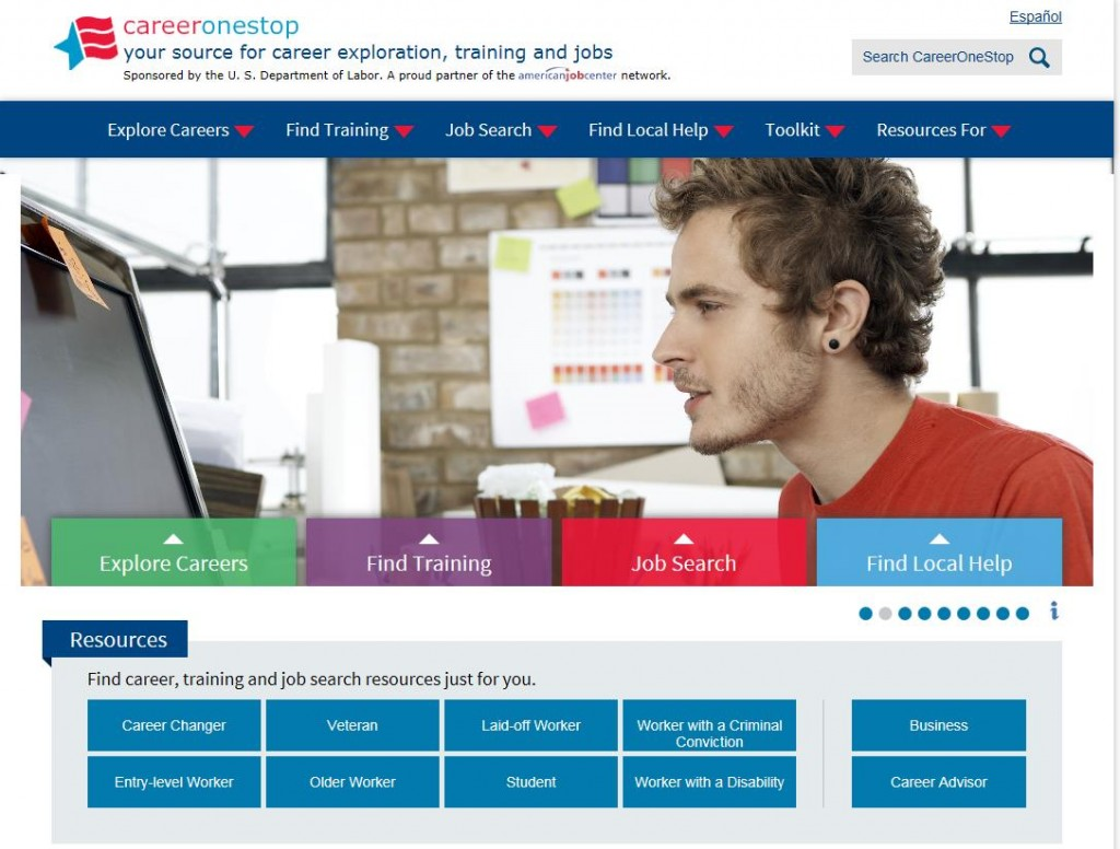 CareerOneStop's new home page image