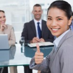 Job applicant giving thumbs up