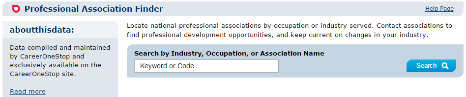 Entry page to CareerOneStop's Professional Association Finder