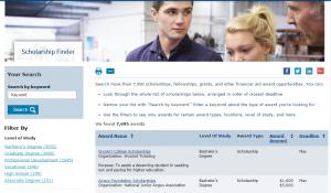 Screenshot of Scholarship Finder award list