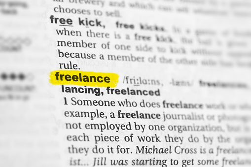 dictioanary page with definition of freelance