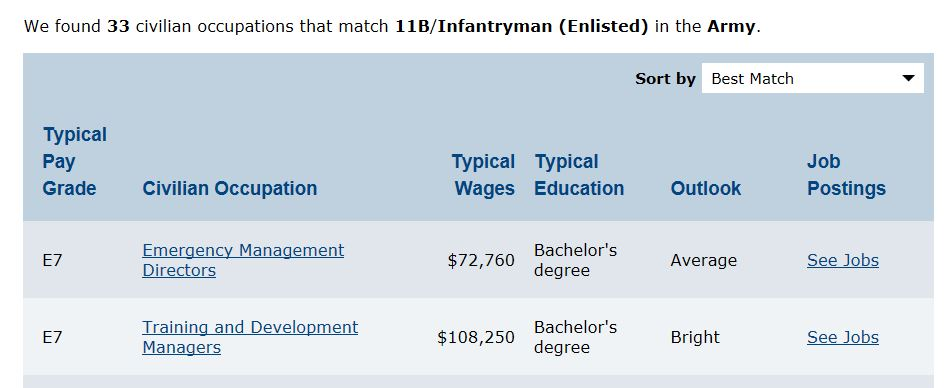 image of Veterans Job Matcher results