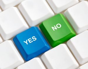 Keyboard highlighting Yes and No options