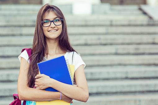 Teenage girl at college