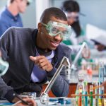 young African American man working in a lab