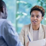Career counselor advising client