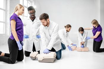 CPR class practicing