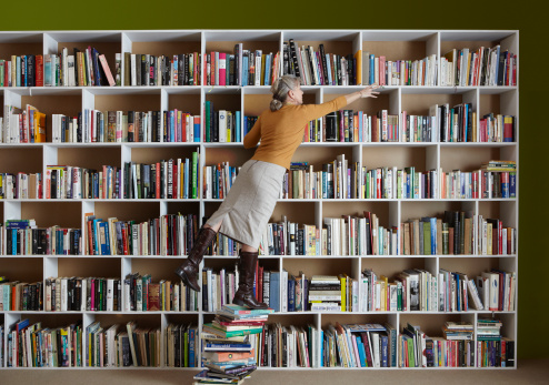 librarian standing on books