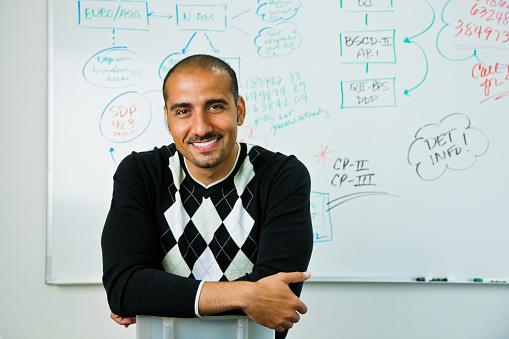 Middle Eastern man sitting near whiteboard